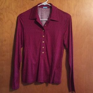 J McLaughlin silk blouse red & blue pattern